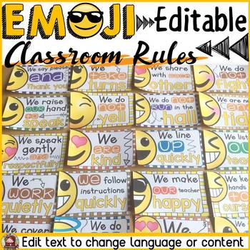 EMOJI THEMED: (EDITABLE) CLASSROOM RULES: CLASS DECOR