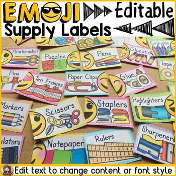 EMOJI THEMED: (EDITABLE) SUPPLY LABELS: CLASS DECOR