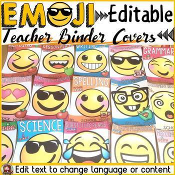 EMOJI THEMED: (EDITABLE) TEACHER BINDER COVERS