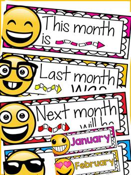 EMOJI THEMED: (EDITABLE) MONTHS OF THE YEAR: CLASS DECOR