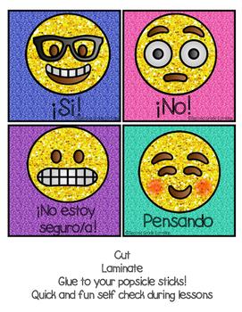 EMOJI Themed Question Response Sticks (SPANISH)