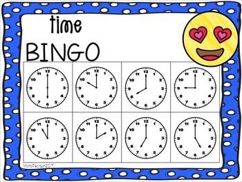 EMOJI Time to the Hour Bingo