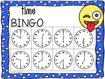 EMOJI Time to the Hour and Half Hour Bingo