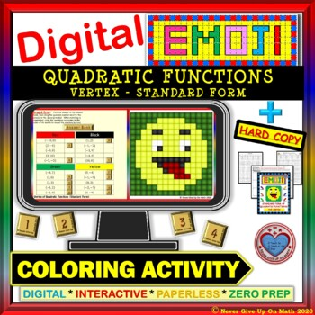 EMOJI - Vertex of Quadratic Function in SF  (Google Interactive & Hard Copy)