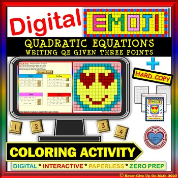 EMOJI - Write Quad Equ from 3 Points  (Google Interactive & Hard Copy)