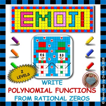 EMOJI - Writing Polynomial Functions given Rational Roots (2 LEVELS)