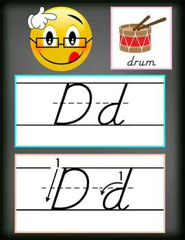 EMOJI theme - Alphabet Cards, Handwriting, D'Nealian, ABC cards with pictures