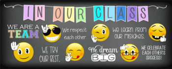 EMOJI theme - Classroom Decor: LARGE BANNER, In Our Class - horizontal