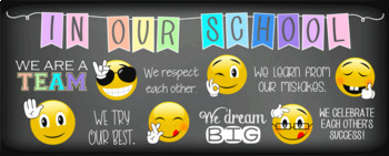 EMOJI theme - Classroom Decor: LARGE BANNER, In Our School - horizontal