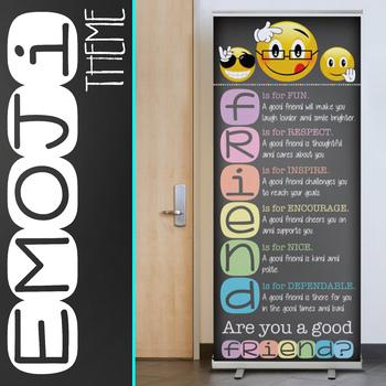 EMOJI theme - Classroom Decor: LARGE BANNER, FRIEND - PASTEL