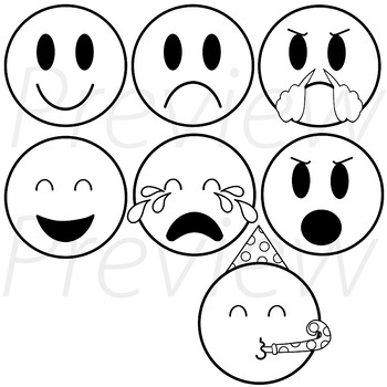 EMOJIS (black and white version) VIPKid My Feelings Demo Lesson Props