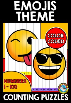 EMOJIS COUNTING PUZZLES: COUNTING TO 100: EMOJI THEME MATH CENTER