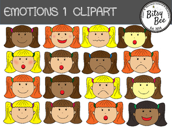 EMOTIONS 1 CLIP ART.   BOYS AND GIRLS FACES