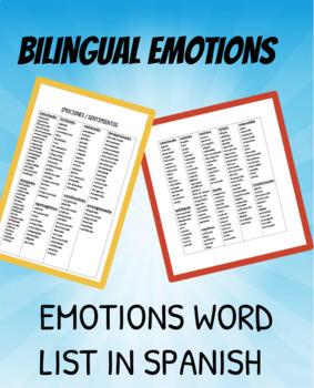 EMOTIONS / EMOCIONES LIST: BILINGUAL / SPANISH