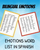 EMOTIONS / EMOCIONES LIST: BILINGUAL / SPANISH