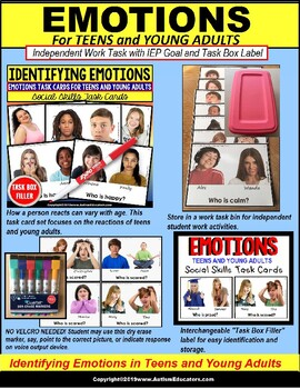 """EMOTIONS Teens and Young Adults Task Cards """"Task Box Filler"""" Special Education"""