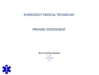 emt emr primary assessment ppt training presentation by bruce vincent