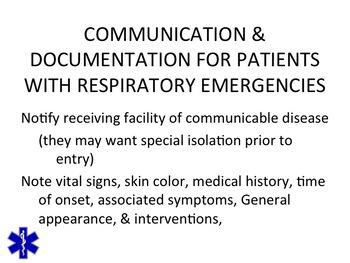 EMT/EMR RESPIRATORY EMERGENCIES PPT TRAINING PRESENTATION
