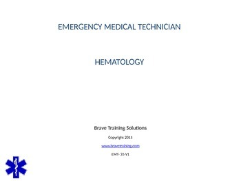 EMT POWERPOINT LESSON ON HEMATOLOGY