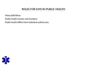 EMT/EMR LESSON ON PUBLIC HEALTH