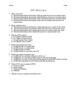 EMT Stress Unit Quiz