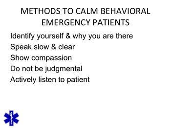 EMT/EMR PSYCHIATRIC EMERGENCIES PPT TRAINING PRESENTATION