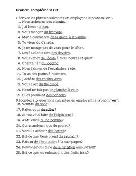 Pronoms compléments EN French pronoun worksheet 1