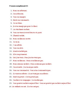Pronoms compléments EN French pronoun worksheet 1