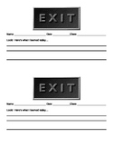 END OF CLASS EXIT SLIP