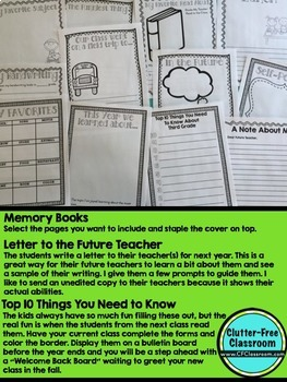 END OF THE YEAR ACTIVITIES / MEMORY BOOK by Clutter-Free Classroom