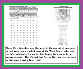 END OF YEAR AMERICAN HISTORY WORD SEARCHES (Wars, Civil Rights, Over 100 pages)