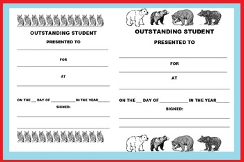 END OF THE SCHOOL YEAR OUTSTANDING STUDENT AWARD CERTIFICATES (ANIMAL THEMED)