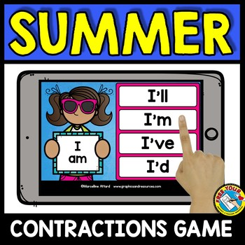 END OF THE YEAR ACTIVITIES GRADE 1 (CONTRACTIONS 2ND GRADE) GRAMMAR BOOM CARDS