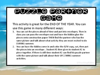 END OF THE YEAR ACTIVITY- Puzzle Partners