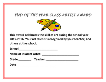 END OF THE YEAR AWARDS: FOR ART