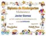 END OF THE YEAR AWARD FOR KINDERGARTEN - DIPLOMA, CERTIFICATE - Spanish