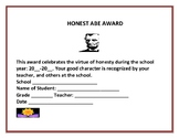 END OF THE YEAR AWARD: HONESTY