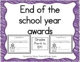 END OF THE YEAR AWARD- Pre-K through 5th grade