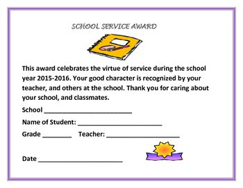 END OF  THE YEAR AWARDS: SCHOOL SERVICE