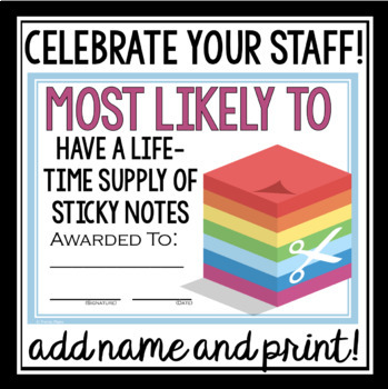 END OF THE YEAR AWARDS FOR TEACHER / STAFF MOST LIKELY TO