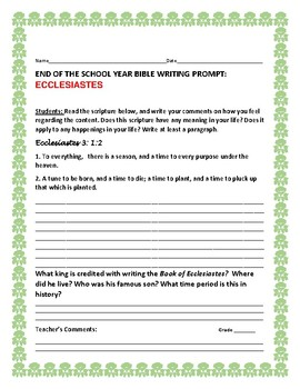 END OF THE YEAR BIBLE WRITING PROMPT: ECCLESIASTES