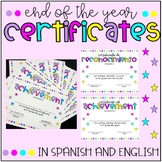 END OF THE YEAR Certificates in English and Spanish (BILINGUAL RESOURCE)