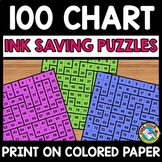 BACK TO SCHOOL ACTIVITY FIRST GRADE MATH (100 CHART PUZZLES INK SAVING CENTER)