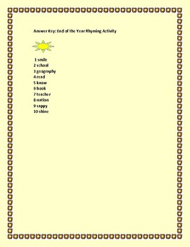END OF THE YEAR RHYMING ACTIVITY: HAVE FUN! GRADES 3-5