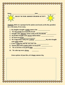END OF THE YEAR SYNONYM & ART ACTIVITY: GRADES 3-6, ESL