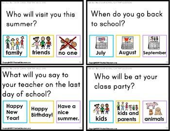 "END OF THE YEAR Task Cards - WH Questions for Autism ""Task Box Filler"""