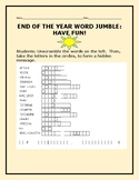END OF THE YEAR WORD JUMBLE PUZZLE: HAVE FUN!