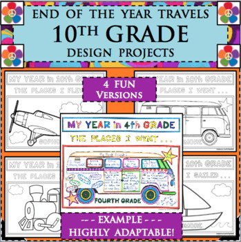 EOY END OF THE YEAR TRAVELS for 10th TENTH GRADE SOPHOMORE Design Activities