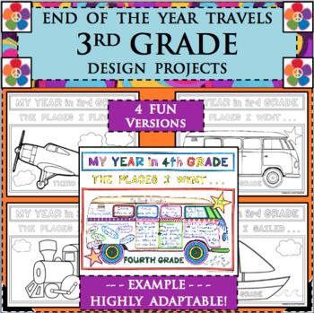 EOY END OF THE YEAR TRAVELS for 3rd THIRD GRADE Design Activities