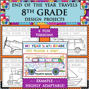 EOY END OF THE YEAR TRAVELS for 8th EIGHTH GRADE Design Activities